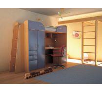 Детская мебель Орбита-4 (корпус бук/ фасад синий), 239*Н182,2*84 см, спальное место  80*200