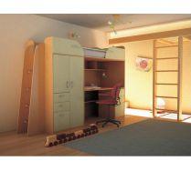 Кровать чердак Орбита-4 (корпус бук/ фасад салатовый), 239*Н182,2*84 см, матрац 80*200