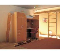 Детская Орбита-4 (корпус бук/ фасад оранжевый), 239*Н182,2*84 см, спальное место 80*200