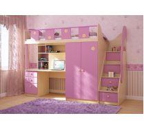 Детская мебель ПИКНИК. Цвет Дуб паллада/каприче розовый, В183хШ250хГ83см, Спальное место  80х200