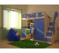 Кровать чердак ТАЙМАУТ. Дуб паллада/голубой, В183хШ250хГ85см, Спальное место 80х200