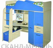 Детская мебель Нильс, Цвет: Клен Медисон/Светло-синий, Спальное место 80*190