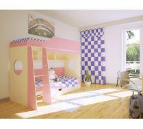 Детская двухъярусная кровать Орбита - 5 (корпус дуб кремона/фасад розовый)