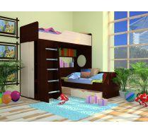 Кровать чердак Орбита11/1(спальное место 190х80)+ нижняя кровать Орбита 11/3(спальное место 160х70)
