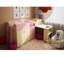 Кровать низкая Фанки Кидз 10 в розовом цвете