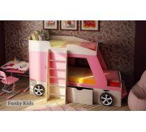 Двухъярусная кровать машина для девочек Джип + фанки Деск-1 парта трансформер