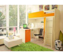 Кровать - чердак Орбита 3/1+ стол Орбита 3/2 - Спальное место-190х80 (Дуб кремона/оранж)