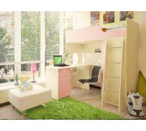 Кровать - чердак Орбита 3/1+ стол Орбита 3/2 - Спальное место-190х80 (Дуб кремона/розовый)