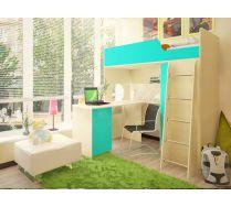 Кровать - чердак Орбита 3/1+ стол Орбита 3/2 - Спальное место-190х80 (Дуб кремона/синий)
