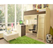 Кровать - чердак Орбита 3/1+ стол Орбита 3/2 - Спальное место-190х80 (Дуб кремона/венге))