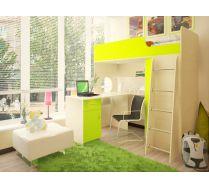 Кровать - чердак Орбита 3/1+ стол Орбита 3/2 - Спальное место-190х80 (Дуб кремона/салатовый)