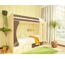 Детская двухъярусная кровать Орбита-2. Спальное место 80х200. (Дуб кремона/венге)