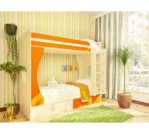 Детская двухъярусная кровать Орбита-2. Спальное место 80х200. (Дуб кремона/оранжевый)