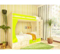 Детская двухъярусная кровать Орбита-2. Спальное место 80х200. (Дуб кремона/салатовый)