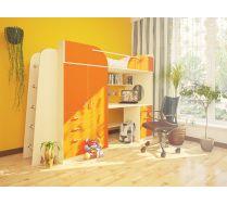 Детская Орбита-4 (корпус дуб кремона/ фасад оранжевый), 239*Н182,2*84 см, спальное место 80*200