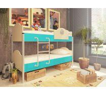 Двухъярусная кровать для детей Орбита 12 (6 цветных фасадов).