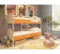 Двухъярусная кровать Орбита-12 - детская мебель (6 цветных фасадов)