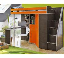 Кровать чердак Орбита 1ГРАНД с лестницей-тумбой (корпус венге/фасад оранж)
