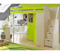 Кровать чердак - мебель детям Орбита 1ГРАНД (корпус дуб кремона / фасад лайм)