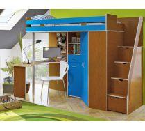 Кровать-чердак с летсницей Орбита 1ГРАНД (корпус ольха/фасад голубой)
