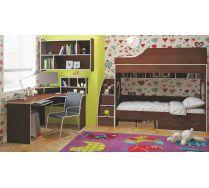 Двухярусная кровать Орбита5 с лестницей, столом, полкой.
