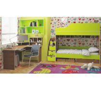 Комплект детской двухярусной кровати Орбита 5 тумба ступенчатая,стол, полка.