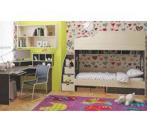 Двухярусная кровать Орбита5 с тумбой ступенчатой, стол, полка.