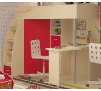 Кровать-чердак Орбита 1 Медиум с рабочей зоной. Дуб кремона/Красный (Сп. место 200х80см.)