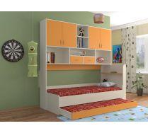 Кровать КР-01 детская мебель Портофино дуб кремона/оранжевый