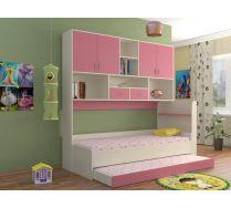 Кровать КР-01 детская мебель Портофино дуб кремона/розовый
