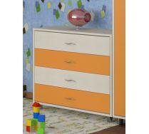 Комод КМ-01 детская мебель Портофино дуб кремона/оранжевый