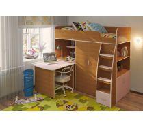 Детская кровать-чердак с выдвижным столом Орбита 18. Ольха/розовый