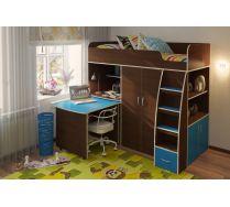Подростковая мебель - кровать чердак Орбита 18. Итал.орех НМЛ/синий