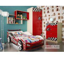 Детская мебель Фанки Авто + кровать-машина Дельта Оптима (сп.место 160х75)