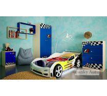 Детская кровать машина Сигма Кар 3D Премиум + мебель для детей Фанки Авто(сп.место 160х75)