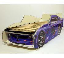 Кровать машина детская Мустанг-Молния Синяя с подъемной решеткой. Спальное место 150х70 или 170х70см