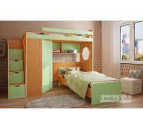 Детская кровать чердак Фанки Кидз 3/1 + тумба - ступенчатая 13/8СВ + нижняя кровать 13/23СВ