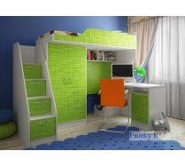 Детская кровать чердак Фанки-4/1 + письменный стол 13/1СВ + тумба-ступенчатая 13/8СВ