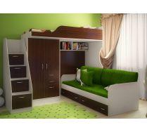 Детская кровать чердак Фанки-4/1 + тумба - ступенчатая 13/8СВ + кровать нижняя 13/7СВ + комплект подушек