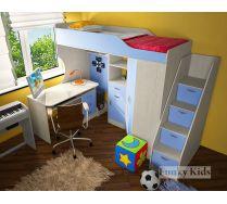 кровать чердак для мальчиков Фанки кидз 7/1 с лестницей в виде тумбы + стол письменный 13/1 СВ