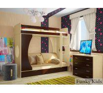Двухъярусная кровать Фанки Кидз 2 + комплект подушек для детей.