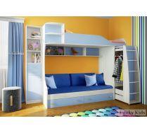 Детская двухъярусная кровать Фанки Кидз 12 + стеллаж 13/16 СВ + комплект подушек детских