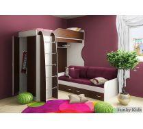 Кровать чердак Фанки Кидз 11/1 +  кровать нижняя 13/7СВ + комплект подушек