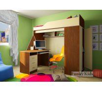 Кровать чердак Фанки Кидз 11/1 + тумба - лестница 13/8СВ + письменный стол 13/1СВ