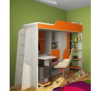 Кровать чердак Фанки Кидз 15  корпус сосна лоредо / фасад оранжевый