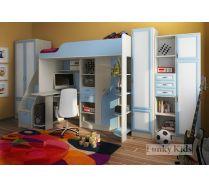 Кровать чердак Фанки-15 (фасады МДФ: шкаф двухстворчатый 13/2  + шкаф однодверный 13/10 + тумба - лестница 13/8 + стеллаж 13/9 фасады МДФ )