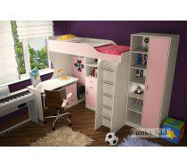 Готовая комната для девочки Фанки 7 (кровать Фанки Кидз 7/1 + стол 13/1СВ + стеллаж 13/4СВ)