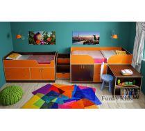 Детская мебель для 2-х малышей - кровать Фанки-9 + кровать Фанки-10 + лестница-комод 13/19СВ
