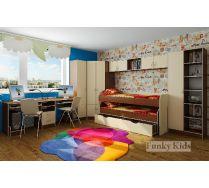 Готовая композиция - комната для двоих детей Фанки Кидз Комната для двух детей - модули СВ: стол 13/51 + пенал 13/10 + шкаф 13/15 + мост 13/50 + кровать Фанки 8 + стеллаж 13/4