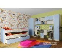 Мебель в детскую для мальчиков - кровать Фанки 8 +  Модули СВ: шкаф 13/2 + мост 13/12 + стол 13/51 + пенал 13/10